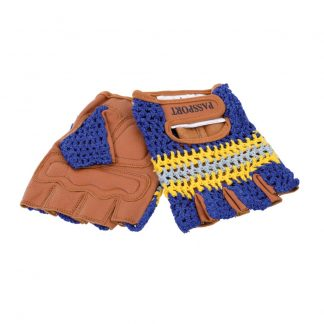 Passport Natural Leather Cycling Mitts with Crochet back in blue